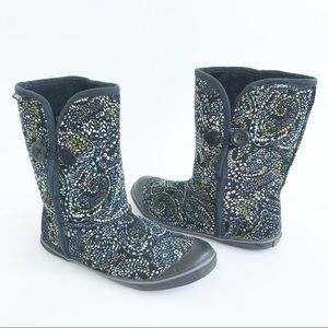Skechers Floral Slip On Button Boots